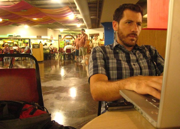 Working on the blog at a market in San Antonio during the NY·DF roadtrip - Photo: Amy Graglia