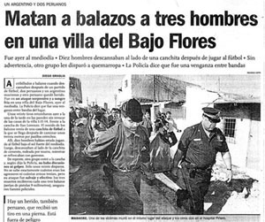 A Clarin story about a massacre in a Buenos Aires shantytown.