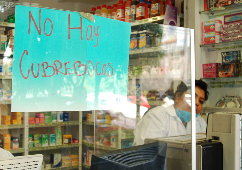 """Out of face masks"": A Mexico City pharmacy during the influenza crisis."