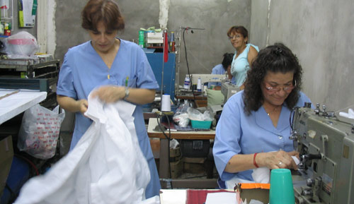 Workers at the Ceres cooperative factory in Buenos Aires.