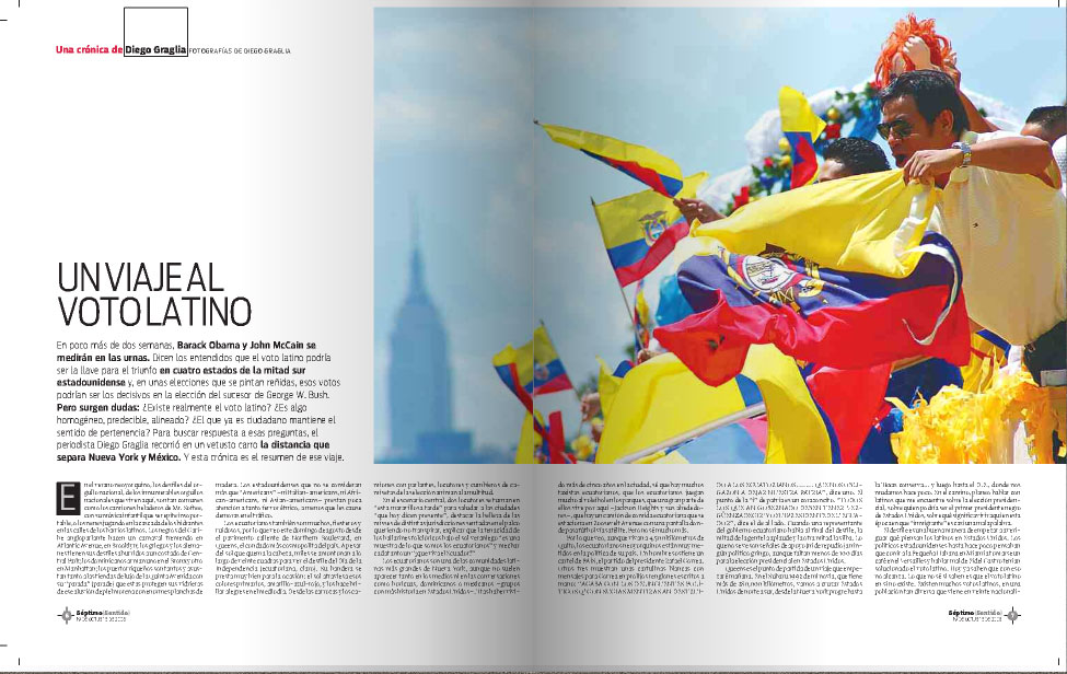 Un viaje al voto latino, on Septimo Sentido magazine.