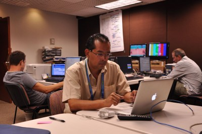 La oficina de AP en el centro de prensa panamericano en Guadalajara